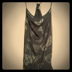 Express small cowl neck tank racer back butterfly